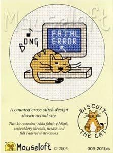 Mouseloft Fatal Error Biscuit the Cat cross stitch kit